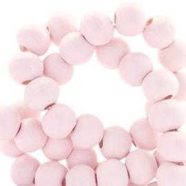 40 x Houten kralen rond 6 mm Rosewater pink