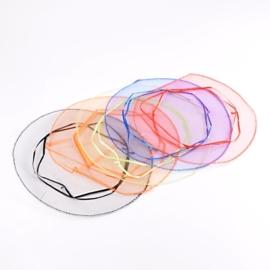 10 stuks ronde organza zakjes mix kleuren, Ø 26 cm  assortiment  (op is op!)