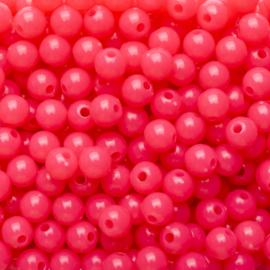 20 x Acryl neon kraal roze; Ø 6 mm, Gat 1,6 mm