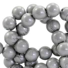 15  stuks  6 mm glaskralen drip-art Metallic grijs