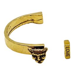 Halve armband met panter metaal goud