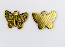 10x Vergulde bedel van een vlinder 13 mm x 16,4 mm