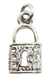 2x Verzilverde hanger van een sleutel hangslot met strass 16 mm x 8 mm oogje: 2 mm