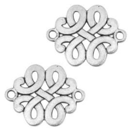 2 x Metalen tussenstuk barok Antiek zilver 17x14 mm