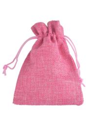 Stoffen cadeauzakje roze c.a.  13,5 x 9cm (op = op!)