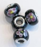 Per stuk Glaskraal European-style zwart met roze bloem 14 mm