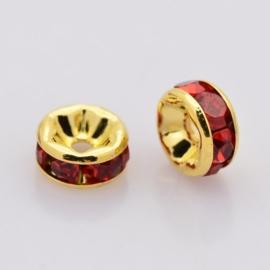 50 stuks Kristal Rondellen 8 mm goudkleur Siam gat: 1,5mm