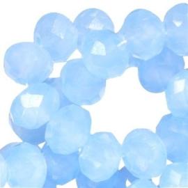 10 x Top Facet kralen 8x6 mm disc Light sapphire blue opal