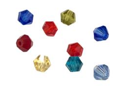 20 x Presciosa Bicone kristal kralen 4 mm gat 1 mm mix