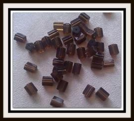 10 Stuks Glaskraal vijfkantig bruin twodrops 8 x 6 mm