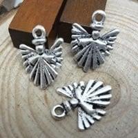 4 x Prachtige engel van Tibetaans zilver 18 x 13mm, oogje c.a. 1-3mm