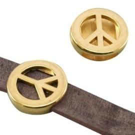 1 x DQ metaal schuiver peace (DQ leer plat 10mm) Goud