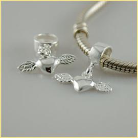 Bead Gevleugeld hart Materiaal: 925 Sterling Zilver