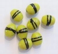 10 stuks Glaskraal India ovaal geel met zwarte streep 10 mm