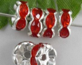 50 stuks Verzilverde Kristal Rondellen 8 mm rood