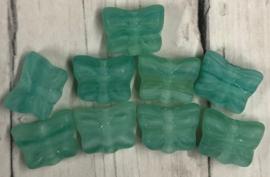 10 stuks groene glaskralen in de vorm van een vlinder 7mm gat 1mm