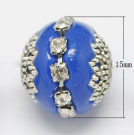 Schitterende handgemaakte Kashmiri kraal 16~18 x 15~16 mm ingelegd met metaal en strass Gat: 2mm royal blue