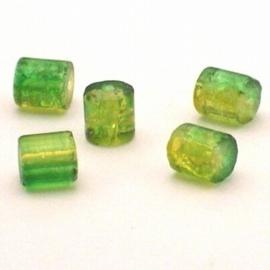 30 stuks crackle glas kralen cilinder vorm 7 x 8mm groen geel