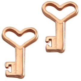 2 x DQ metaal bedel sleutel Rosé Goud 13x9 mm