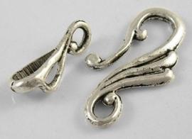 4 x Tibetaans zilveren sluiting 12 x 25mm Stang: 16mm Gat 3mm