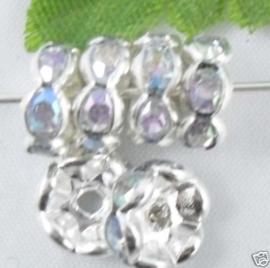 50 stuks Verzilverde Kristal Rondellen 8 mm blank AB