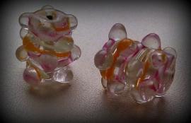 5 x glaskraal tonnetje transparant wit/paars/oranje/geel met pukkels ca 20 mm