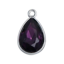 Geboorte steen hanger prachtig kristal facet Februari Amethist Paars  19x12 mm