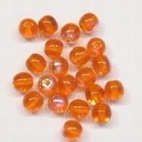 10 Stuk Glaskraal rond transparant oranje AB 6 mm