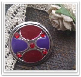 Per stuk Mooie Metalen zilveren drukker met paarse en rode epoxy met rode strass 17 mm