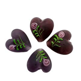 4 stuks  handgemaakte hartje van glas paars 14mm