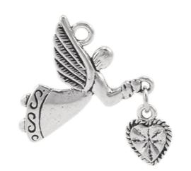 2 x Engel bedel Tibetaans Zilver 40 x 22mm oogje: 2,5mm