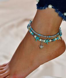 Armband/enkelbandje met schildpad 21-26cm Turquoise howlite