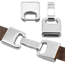DQ metaal sluiting (voor DQ leer plat 10mm) Antiek zilver (nikkelvrij)