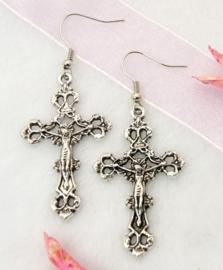 """Tibetaans zilveren oorbellen """"Kruis""""  lang: 57mm Hanger: 43,5 x 26mm"""