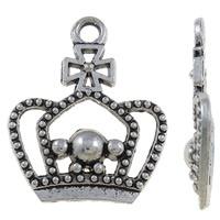 4 x Tibetaans zilveren bedel van een kroon 20 x 24 x 3mm gat: 2mm