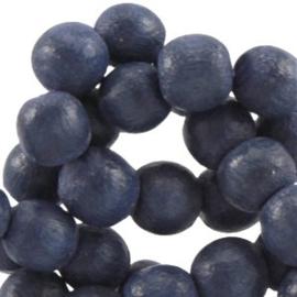 30x Aardse tinten houten kralen rond 6 mm Dark blue