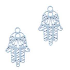 3 x Hangers Bohemian Hamsa hand van Fatima met oog Cloud Blue ca. 17x11mm
