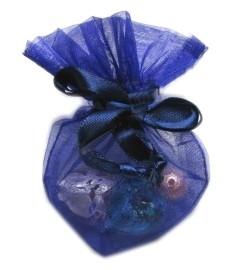 20 stuks luxe hartvormige organza zakjes 10cm x 8.75cm Donker blauw