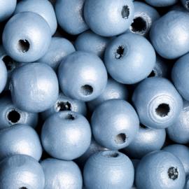 10 x Houten kraal  12mm kleur: blauw gat: 2mm