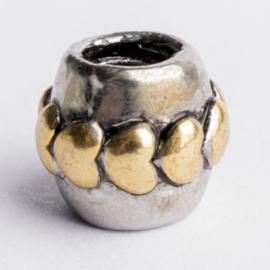 Be Charmed hartjes kraal zilver met een rhodium laag (nikkelvrij) c.a.9x 10mm groot gat: 4mm