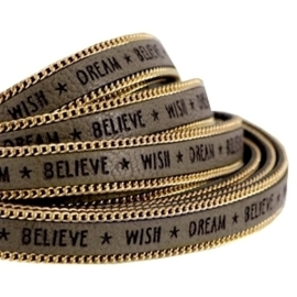 20 cm Quote imi leer 10mm met schakelketting goud Wish dream believe Olive green