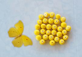 15 stuks Keramische Glaskralen 8mm geel