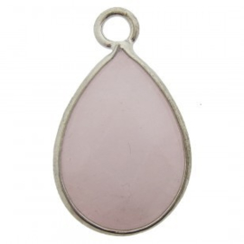 1x bedel edelsteen druppel jade facet lila roze zilver 17 x 28mm