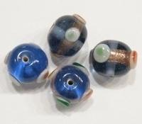 Per stuk Glaskraal rond bewerkt transparant licht blauw 14 mm
