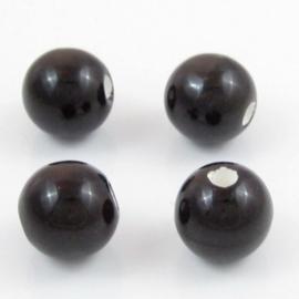 5 x Ronde kralen keramiek donker bruin 19mm