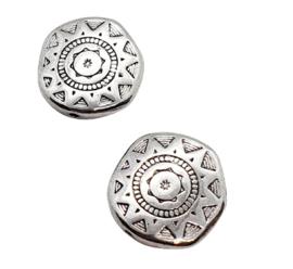 2 x DQ metalen platte kraal 17 x 4mm gat: 1mm  antiek zilver(op is op!)