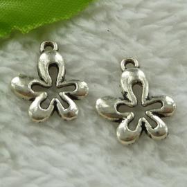 6 x Tibetaans zilveren bedeltje van een bloem 17 x 15 x 2mm gat: 1,5mm platinum