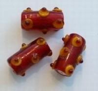 Per stuk Glaskraal Italiaanse stijl Rood met pukkels 23 mm