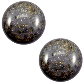 1 x 12 mm classic cabochon Polaris Elements Stardust Dark grey