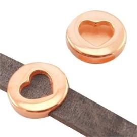 1 x DQ metaal schuiver rond met hart (DQ leer plat 10mm) Rosé Goud